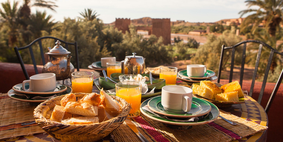 We serve breakfast on terraces or in the restaurant.